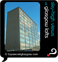 Top Secret Glasgow lozenge showing building in sun. Caption: sky-high views