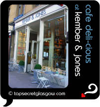 Top Secret Quote Bubble in black, with photo of shop front and tables on pavement. Caption: 'cafe deli-cious'