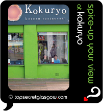 Top Secret Quote Bubble in black, with photo of exterior of Kokuryo; bright lime green walls, Asian guests smiling from their window seats.  Caption: 'spice-up your view'