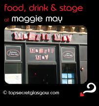 Top Secret Glasgow Quote Bubble showing exterior in sun. Caption: eat, drink & stage