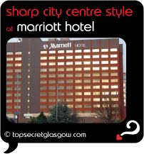 Top Secret Glasgow Quote Bubble showing hotel exterior from main road. Caption: sharp city centre style