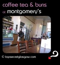 Top Secret Glasgow Quote Bubble showing sunny interior. Caption: coffee tea & buns