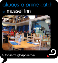 Top Secret Glasgow Quote Bubble showing airy interior. Caption: always a prime catch