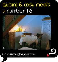 Top Secret Glasgow QUote Bubble showing cute table interior, under staircase. Caption: quaint & cosy meals