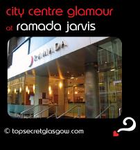 Top Secret Glasgow Quote Bubble showing main entrance from pavement. Caption: city centre glamour