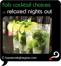 glasgow fab cocktail choices at relaxed nights out
