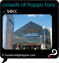 black speech bubble with SECC entrance against blue sky, caption: crowds of happy fans.