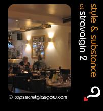 Top Secret Glasgow lozenge showing dining room interior. Caption: style & substance