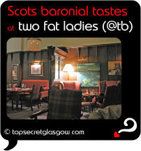Top Secret Quote Bubble in black, with photo of tartan and wood-clad reception area. Caption: 'Scots baronial tastes'