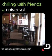 Top Secret Glasgow Quote Bubble showing interior. Caption: chilling with friends