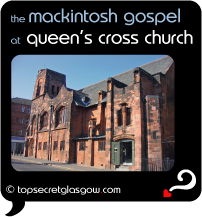 Top Secret Quote Bubble in black, with photo of the whole long side of the building. Caption: 'the mackintosh gospel'